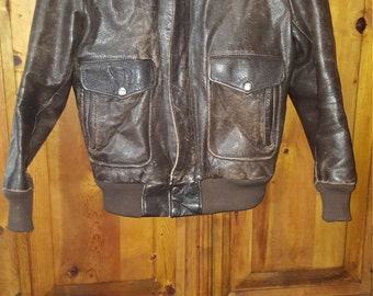 Vtg. Distressed Brown Steer Hide Leather And Faux Aviator Jacket Zip Front Size 36  Please Fit According To Measurements Listed