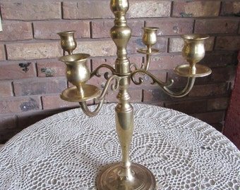 Four Arm Holds Five Candles Brass Candelabra Centerpiece.