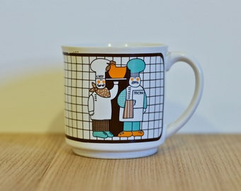 Rétro Mug - Japan - 1970 - Pastel colours / Two chefs design