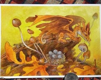 "Nesting Dragon Print - 5x7"" wall art illustration"