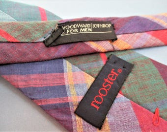 Indian Madras Plaid Necktie Vintage Men's Wear Rooster Designer Father's Day Gift for Men Woodward and Lothrop Store for Men Tie Classic