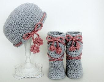 Crochet Pattern- Baby Hat, Baby Booties, Slippers, Girl, Boy, Size Preemie, Newborn, 3 Month, 6 Month, 1 Year, MeadowvaleStudio # 135