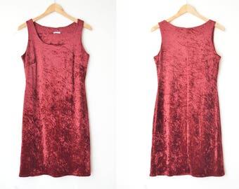 cherry oxblood velvet mini dress 80s // M