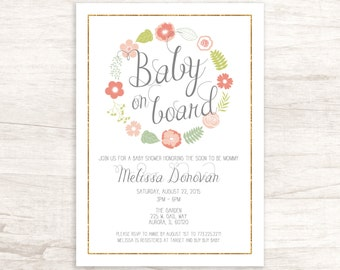Sweet Baby Shower Invitation with Flowers