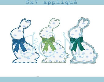Easter Bunny Outline Applique Design with Optional Bows - three top stitches