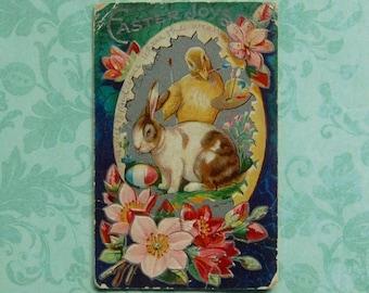 Vintage Easter Bunny Posing for Artist Chick in Giant Egg Frame Postcard, Embossed