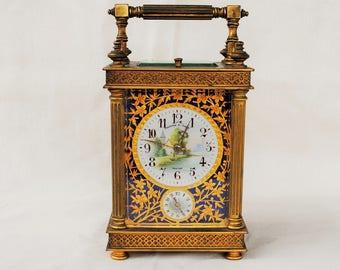 Antique Theodore B. Starr Brass Carriage Clock with Original Case