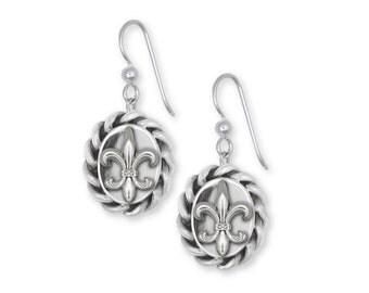 Fleur De Lis Earrings Jewelry Sterling Silver Handmade Flower Earrings FD2-E