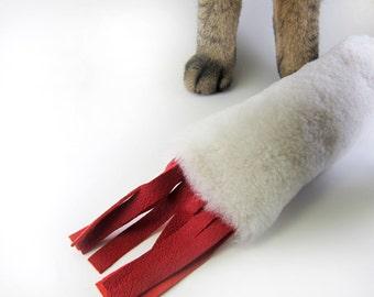 Cat Kicker Stick, Kitty Kicker, Cat Kicker, Stuffed Cat Toy, Fun Cat Toys, Organic Catnip or Silvervine Mix, Natural Sheepskin, Opt. Fringe