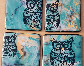 Scandinavian Owl Hand Painted Fused Glass Coasters (x4)