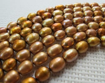 6-7mm Golden Brown Freshwater Rice Pearl PL113