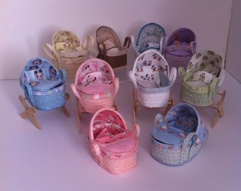 Dolls House Miniature Baby Moses Basket