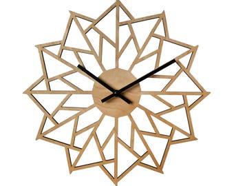 "12"" Pinwheel WALL CLOCK Contemporary Laser Cut Wood"