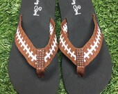 Cocomo Soul Football Fabric Stitch FLAT Flip Flops Size 6 7 8 9 10 11 12 NEW Sandals Thongs Sports Sandals