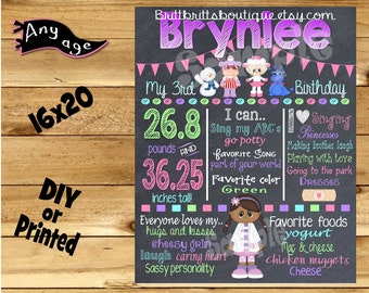 First Birthday Chalkboard sign girl 1st birthday doc is in chalk board photo prop customized first birthday poster digital file or printed