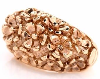 14K Italian Yellow Gold Dome Ring - Flower Motif