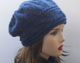 Soft Wool Hat  in Egyptian Blue. Slouchy Hat. Hand Knit Hat. Winter Woman Hat.