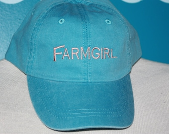 Embroidered FarmGirl Baseball Hat - Farm Girl Ball cap - Embroidered Baseball Cap - Custom Baseball Hat - Farm Girl Gift
