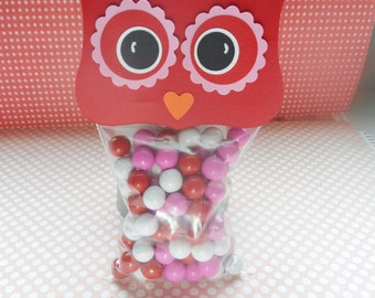 Valentine Owl Treat Toppers, Valentine Party Favors, Class Treats, Red and Pink Owls