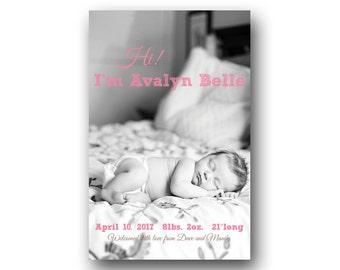 Baby Girl Birth Announcement - Custom Photo Birth Announcement - Printable - Pink Chalk Text
