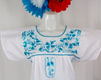 Mexican Embroidered Tunic-Embroidered by Hand-White (Small) BOHO Hippie-Handmade-Beautiful-Valentines Day Gift-Fiesta Mexicana-Birthday-Art