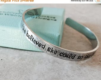 ON SALE SALE!  She believed she could so she did personalized cuff bracelet hammered cuff bracelet jewelry gift college high school graduati