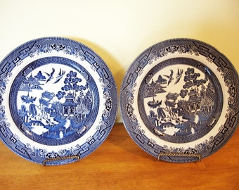 Blue Willow Dinner Plates, set of 2 by Churchill, Staffordshiire England,Replacement dishes