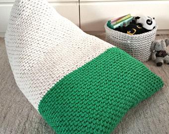 Emerald Bean Bag Chair-Kids/ Adult Bean Bag-Chunky Knit Bean Bag-Nursery Decor-Playrooms Bean Bag-Lounger Floor Pillow-Lounger Pouf