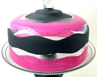 Cake Dome Set | Cake Stand w/ Pedestal | Hand Painted Glass | Glass Cake Stand | Pink and Black