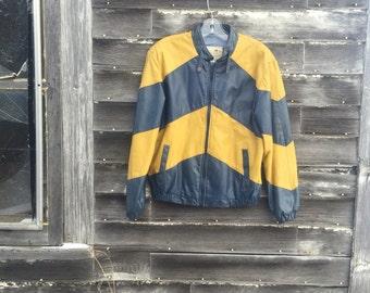 Vintage grey and yellow chevron leather jacket
