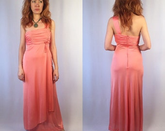 Vintage 1970's Empire Waist Pink Maxi Gown Small