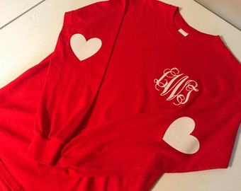 Womens and Juniors Valentines Elbow Heart Patch Monogrammed Long Sleeve Shirt