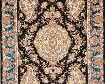 Royal Khatibi Persian Rug tabriz hand Woven with pure silk border in blue 5x7 with paisley unique and superfine