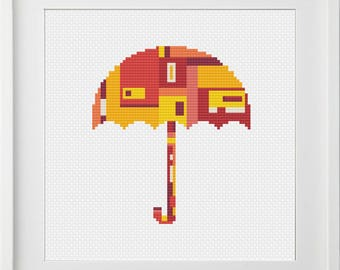 Red Umbrella, modern, PDF, Cross Stitch Pattern, instant download