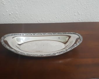 Vintage silver serving bread tray Victorian Ross Wm Rogers & Son