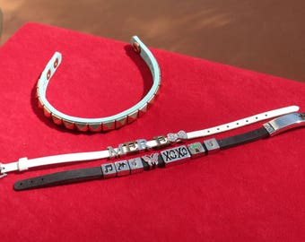 Lot Of Retro Vinyl & Rubber Assorted Beaded Metal Studded Bracelets TLC