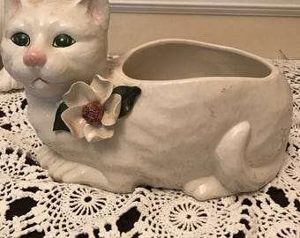 Capodimonte ceramic cat planter green eyes dogwood flower vintage