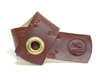 Ruler Measure tape in leather 20 cm OX RAW RULER Maroon