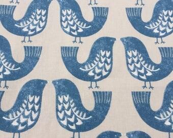 Window valance, curtain valance, cafe curtain, Scandi birds, blue birds, fullylined