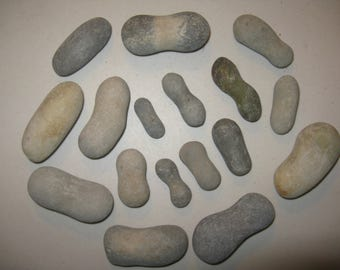 "17 Peanut Shaped Stones 1.5"" to 3"" long, Smooth, Round,Beach Rocks, Painting Stones, Guest Book Alternative,Wedding Stones, Wedding Decor"