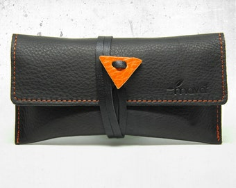 Leather tobacco pouch Black Mamba- Handmade & Made in Italy!