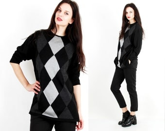 Vintage Rhombus Sweater / Colorblock Sweater / Knit Blouse / Black / Silver / Grey / Oversized Sweater Size M