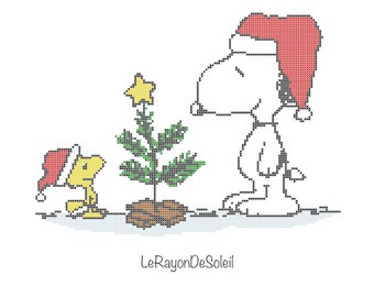 Cross stitch pattern Snoopy Woodstock winter snow christmas tree - Instant download PDF