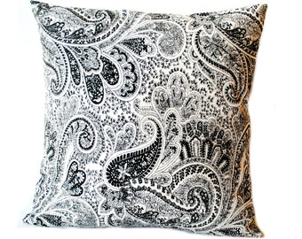 "One black paisley pillow covers, 18"" cushion, decorative throw pillow, decorative pillow, accent pillow, pillow case"
