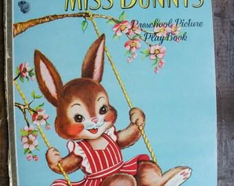 Saalfield Little Miss Bunny's Preschool Picture PlayBook ~ Vintage Board Book 5964