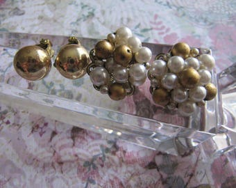 Jewelry, Womens Earrings, Vintage Earrings, Lot 2, Marked Japan, Round, Pearl, Womens Earrings
