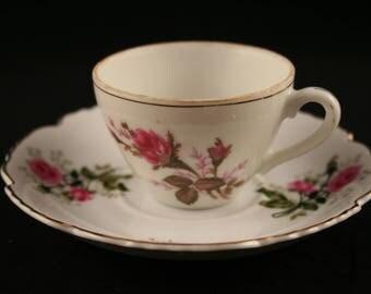 Lefton China Demitasse Cup, Small Teacup & Saucer, Pink Rose Teacup, Vintage Teacup, Fine China, Pink Floral Teacup, Pink Flower Teacup