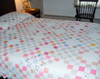 Perfect Cottage Country Look.    Feed Sack Irish Chain Quilt.  Excellent Condition!