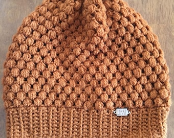 The Puff Beanie - Rust colored slouchy beanie, hat, winter accessory, perfect gift for women, teens, mom, daughter