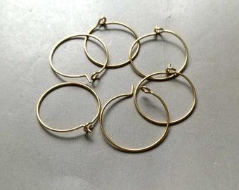 50pcs Raw Brass Ear Wire Earrings Hoop Findings 20mm  - F298